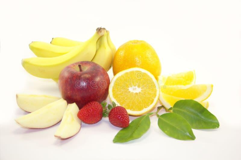Früchte - Bananen, Orangen, Äpfel, Erdbeeren stockfotografie