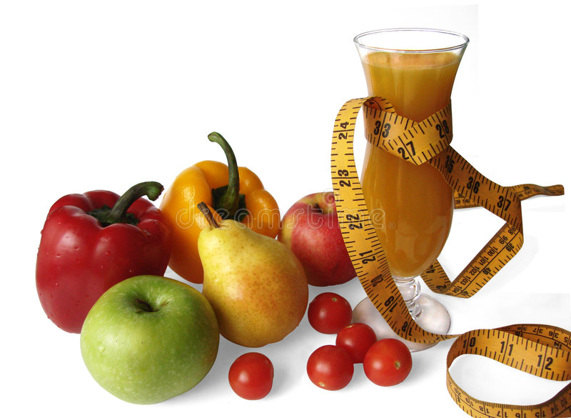 Früchte, Gemüse und Saft - Eignung stockbilder