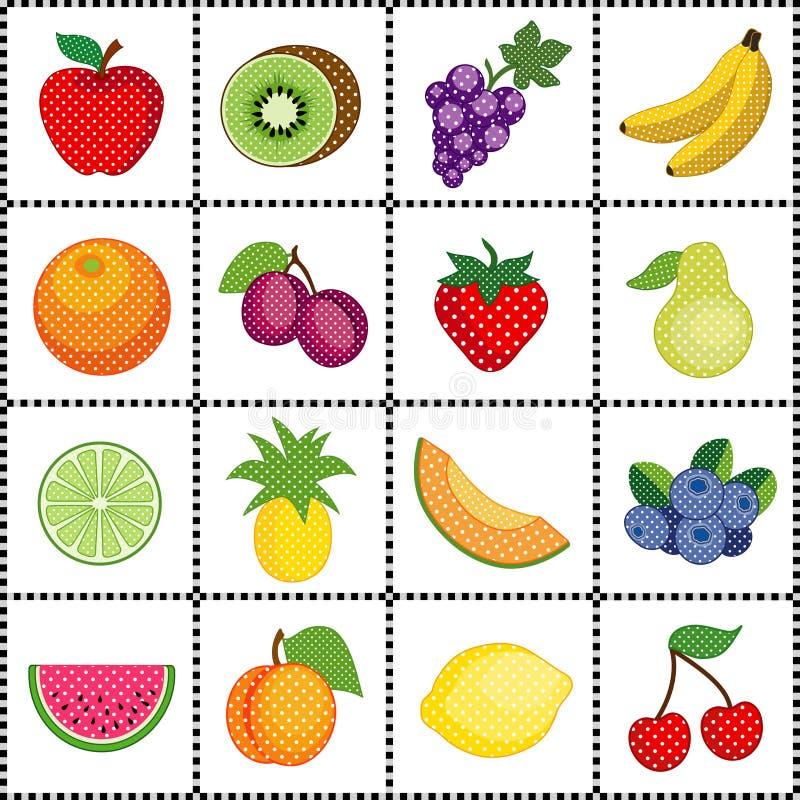 Früchte, Gingham-Feld lizenzfreie abbildung