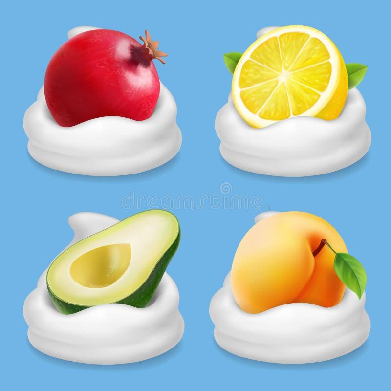 Früchte im Jogurtsatz Pampelmuse, Zitrone, Avocado, realistische Sammlungsikone des Aprikosenvektors stock abbildung