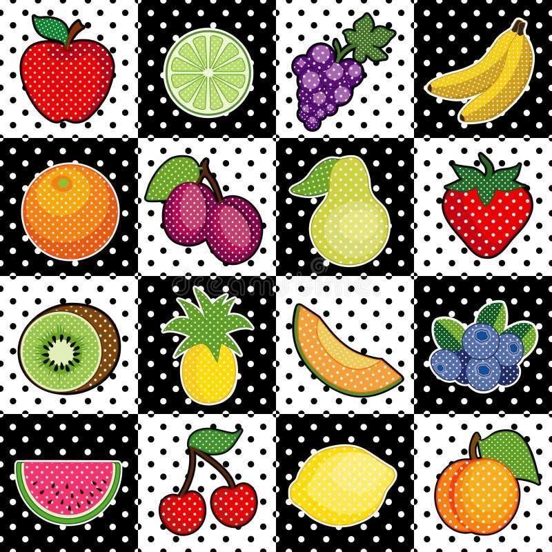 Früchte, Schwarzweiss-Fliese-Hintergrund lizenzfreie abbildung