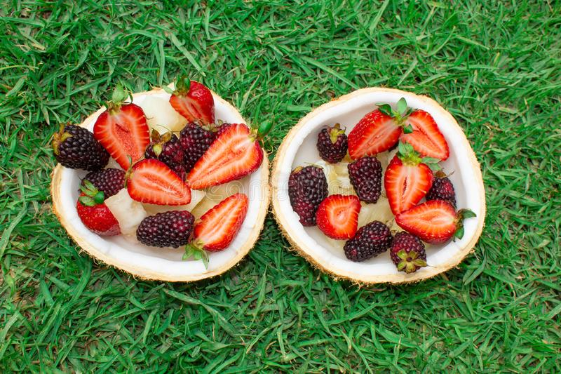 Früchte und Beeren, Erdbeeren, Brombeeren in der Kokosnuss Auf dem grünen Gras lizenzfreies stockbild