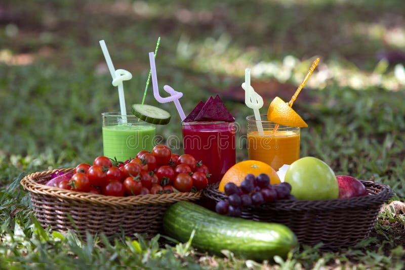 Früchte und Fruchtsäfte in einem tropischen Garten stockfoto