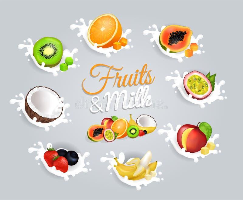 Früchte und Milch-Aufschrift in der Mitte auf Grau vektor abbildung
