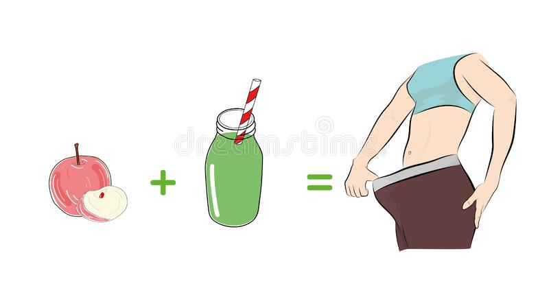 Früchte und Säfte tragen zum Gewichtsverlust bei Auch im corel abgehobenen Betrag stock abbildung