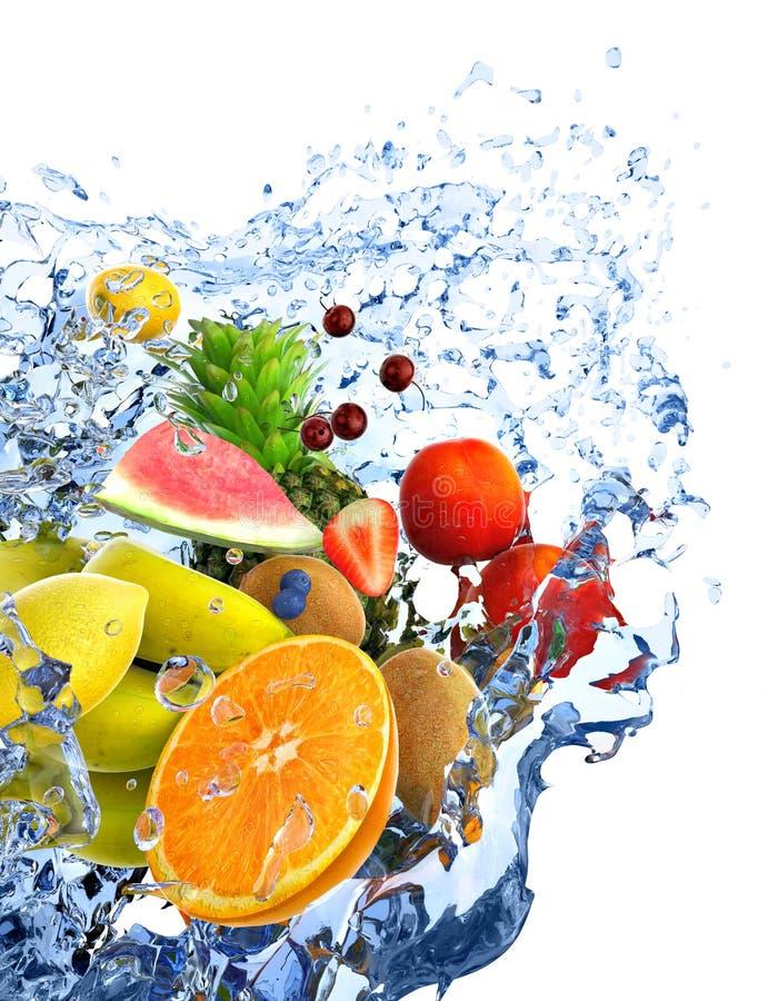 Früchte und Wasserspritzen lizenzfreies stockbild
