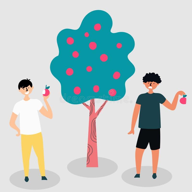 Früchte von einem Baum können einen anderen Geschmack haben opposition Geschmackvoll und geschmacklos metapher stock abbildung