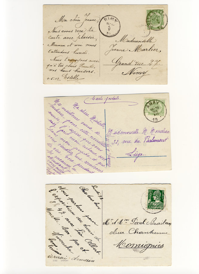 Früh 900 schriftliche Postkarten stockbild