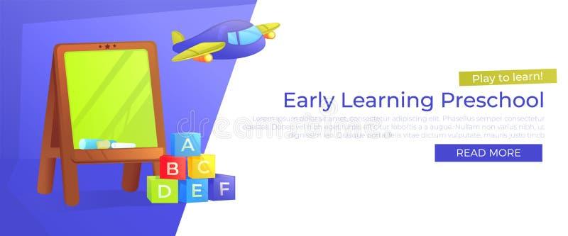 Frühe lernende Vorschulfahne Spielen Sie, um zu lernen Werbung des Kindergartens mit Schulbehörde und Spielwaren vektor abbildung