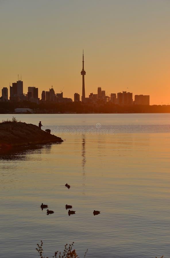 Früher Morgen silhouettiert ruhige Dämmerung lizenzfreies stockfoto