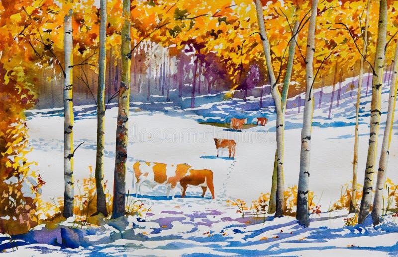 Früher Schnee und Vieh lizenzfreie abbildung