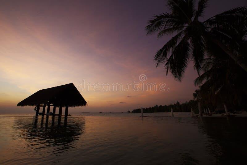 Früher Sonnenaufgang nahe Swimmingpool bei Malediven stockfotografie