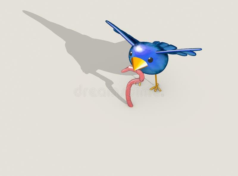 Früher Vogel fängt die Endlosschraube ab lizenzfreie abbildung