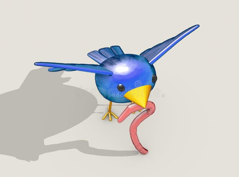 Früher Vogel fängt die Endlosschraube ab stock abbildung