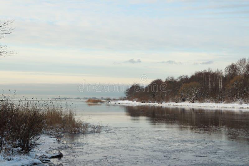 Früher Winter des Meerblicks stockbilder