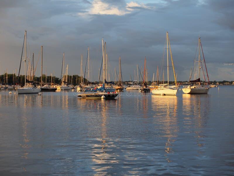 Frühes Licht auf dem Anchorage am Abendessen-Schlüssel-Jachthafen in der Kokosnuss Grove, Miami, Florida lizenzfreie stockfotografie