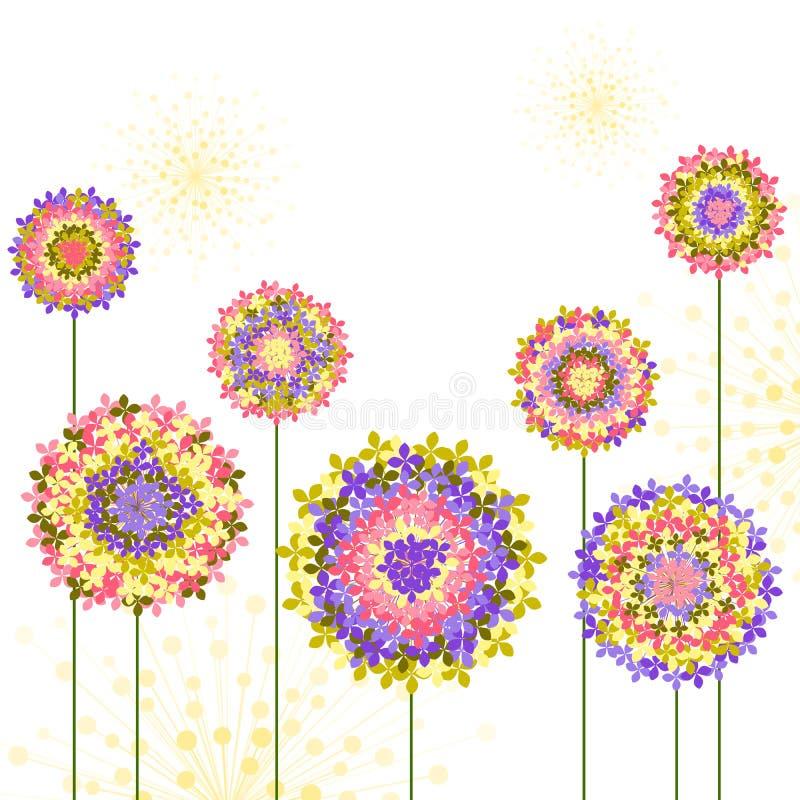 Frühjahr-bunter Hortensie-Blumen-Hintergrund vektor abbildung