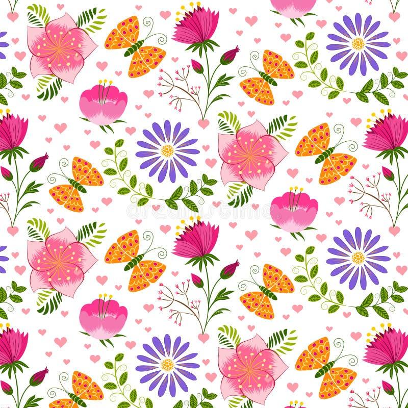 Frühjahr-buntes Blumen-und Schmetterlings-nahtloses Muster lizenzfreie abbildung