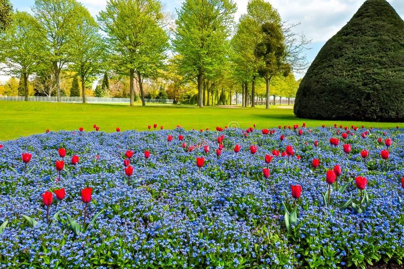 Frühjahr in Hampton Court Gardens, London, Vereinigtes Königreich stockbild