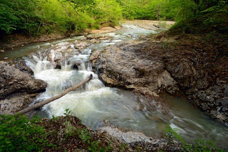 Frühjahrlandschaft von Gebirgsfluss mit kleinem Wasserfall über Felsen lizenzfreies stockfoto