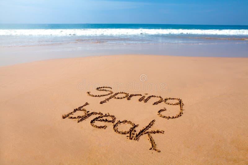 Frühjahrsferien geschrieben in Sand - tropischer Strand lizenzfreies stockbild