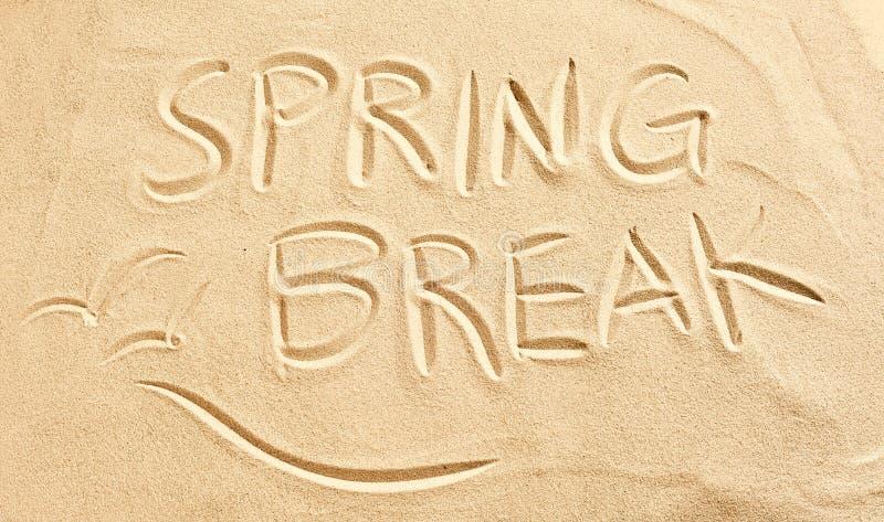 Frühjahrsferien und Seemöwen gezeichnet in Strandsand stockbilder