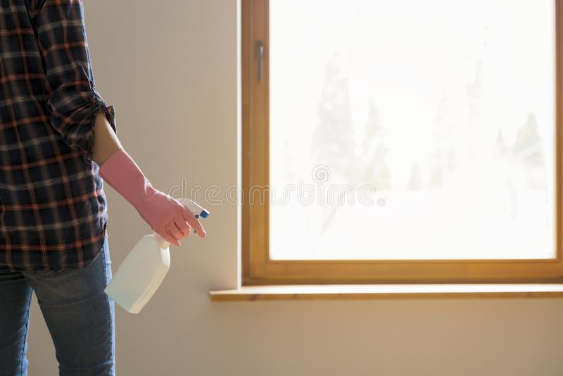 Frühjahrsputzkonzept Die Frau, die vor dem Fenster mit Stoff- und Fensterreinigung steht, sprühen bereites, Fenster zu waschen stockfoto
