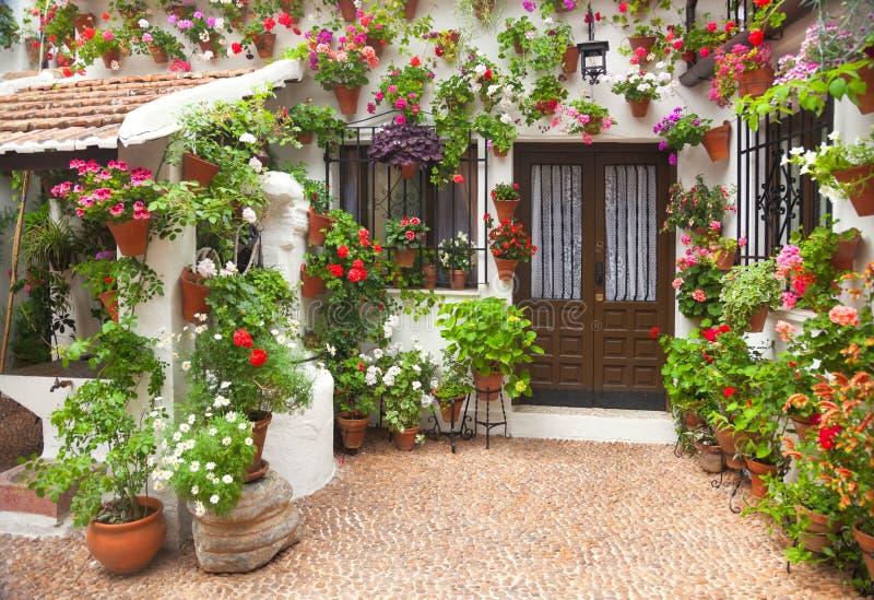 Frühling blüht Dekoration des alten Hauses, Spanien, Europa lizenzfreie stockfotos
