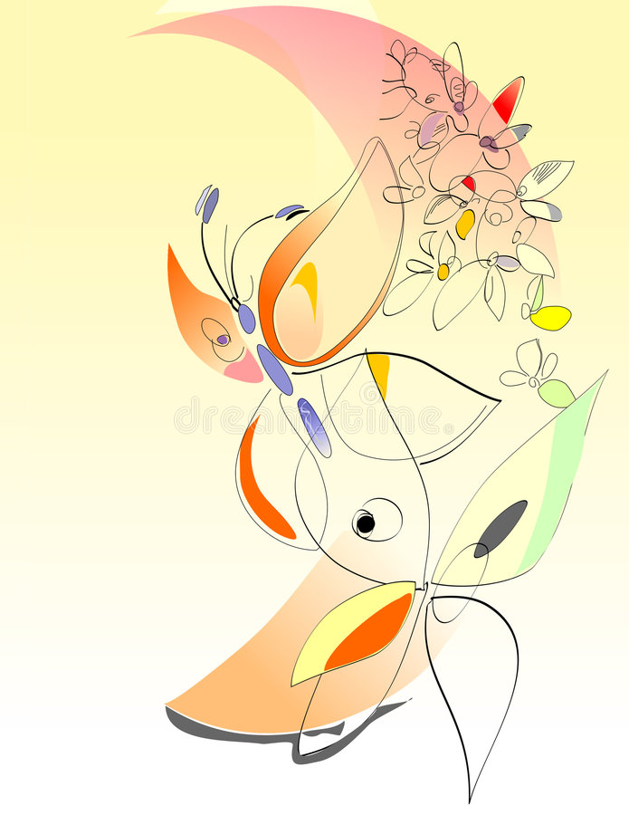 Frühling - Blumen und Basisrecheneinheiten - Digital-Kunst stock abbildung