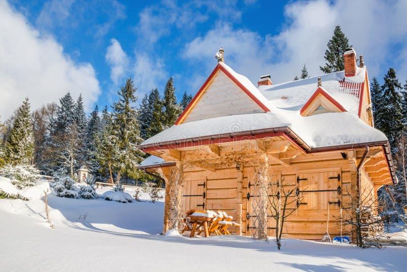 Frühling, der zu geschlossener Gebirgshütte im Winter kommt lizenzfreies stockfoto