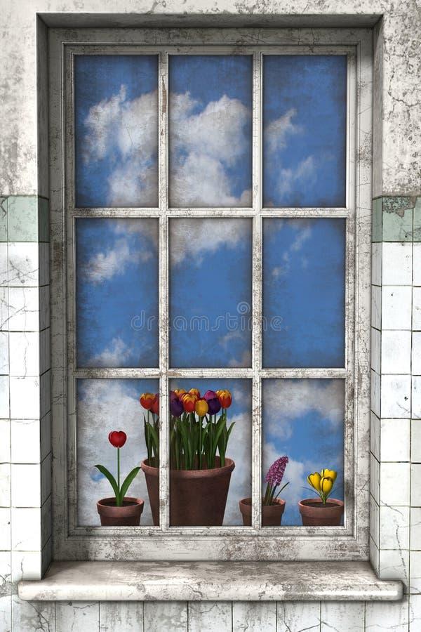 Frühling durch ein Fenster stockfotografie