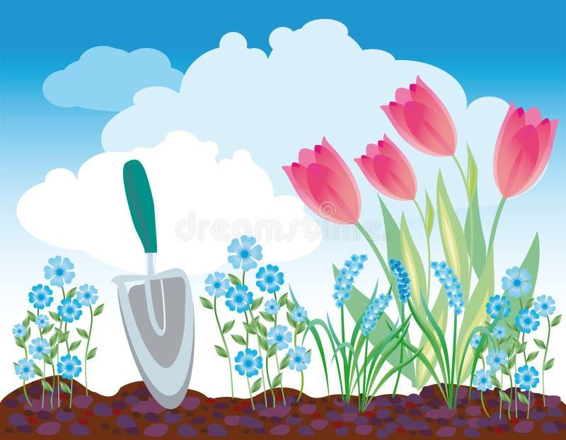Frühling Flowerbed vektor abbildung
