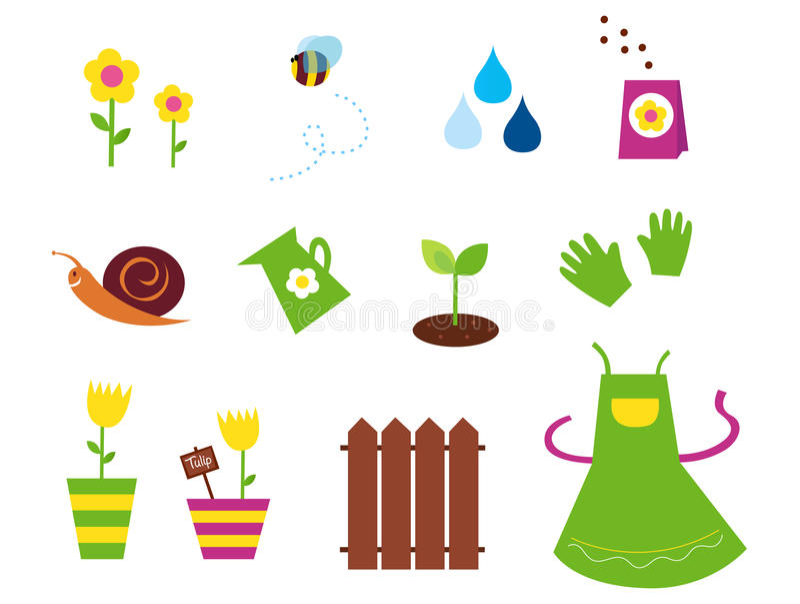 Frühling, Garten u. Landwirtschaftssymbole und -elemente lizenzfreie abbildung