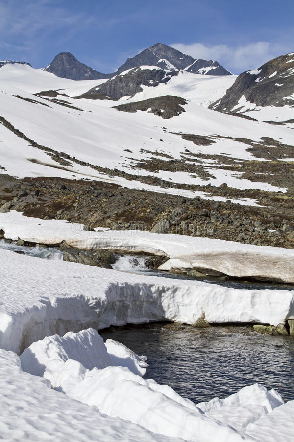 Frühling im Leirdalen. Spring in Leirdalen - the rivers and streams exempt slowly from ice and snow stock photography