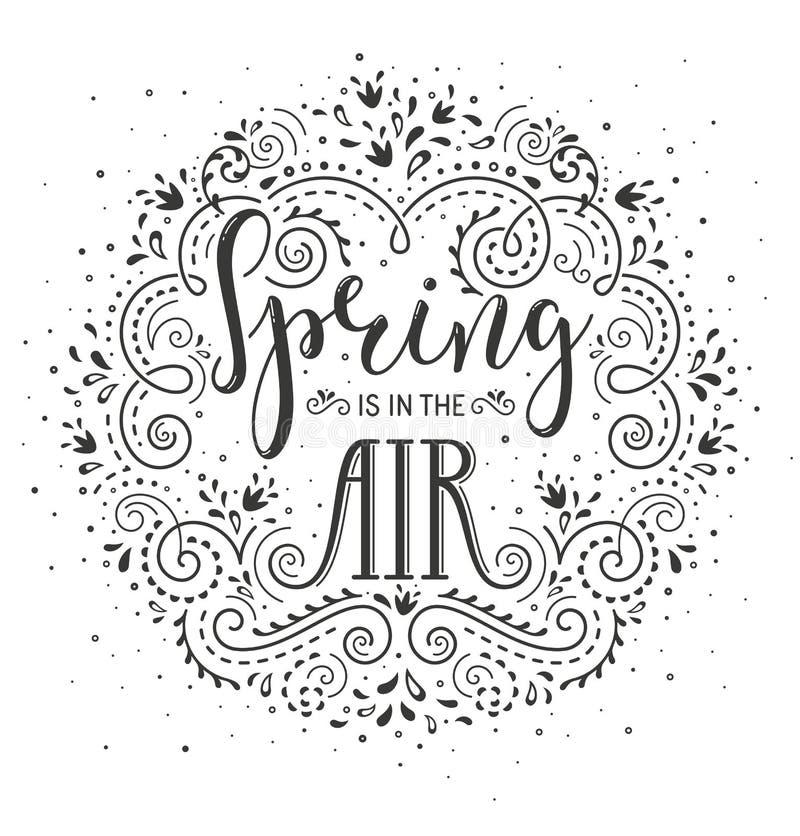 Frühling ist in der Luft Übergeben Sie gezogenes stilisiertes Briefgestaltung wirh blüht und blüht stock abbildung