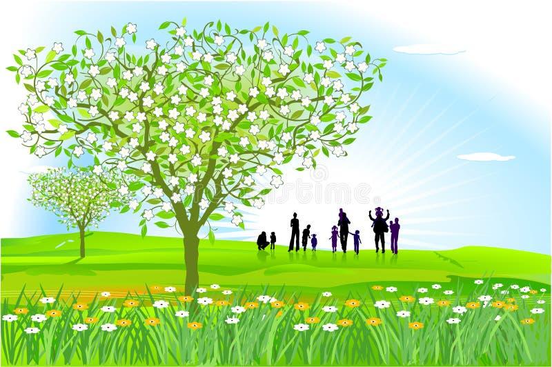 Frühling ist eingeschaltet lizenzfreie abbildung