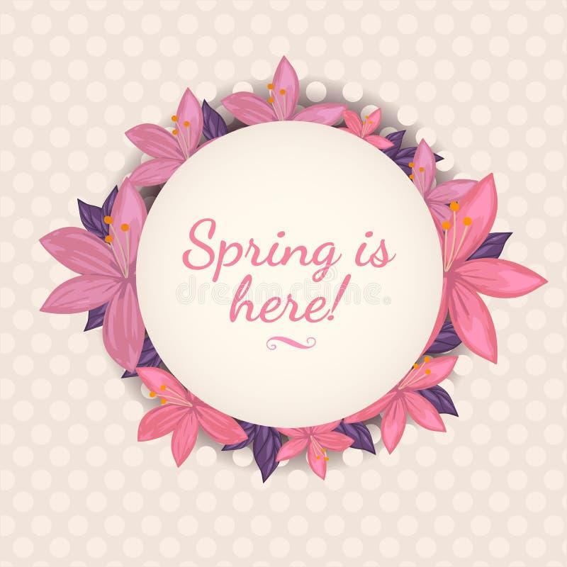 Frühling ist hier Illustration Schönes Blumenkartendesign für Frühling lizenzfreie stockfotografie