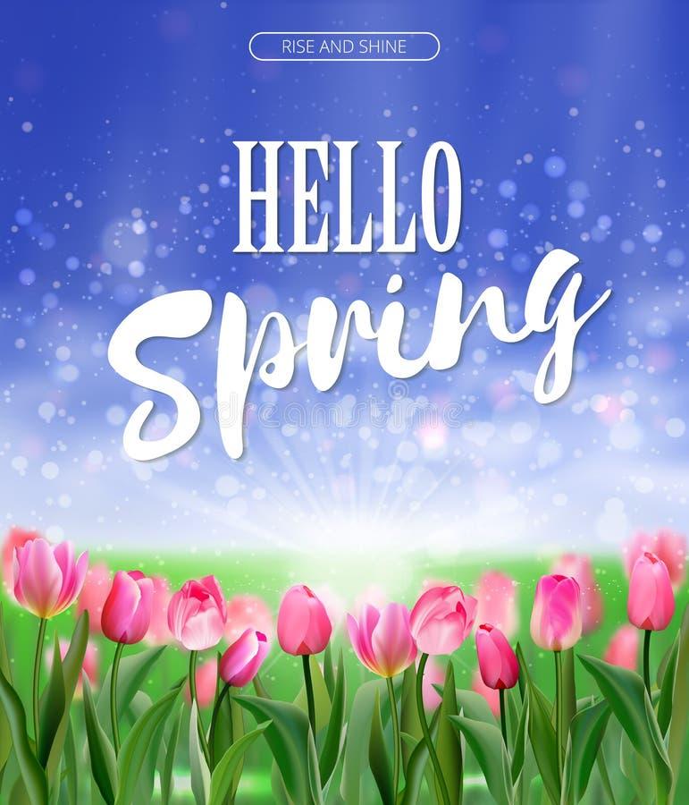 Frühling ist kommende Beschriftung auf Lichtung des rosa Tulpenhintergrundes Helle Naturillustration des Frühlinges Vektor eps10 stock abbildung