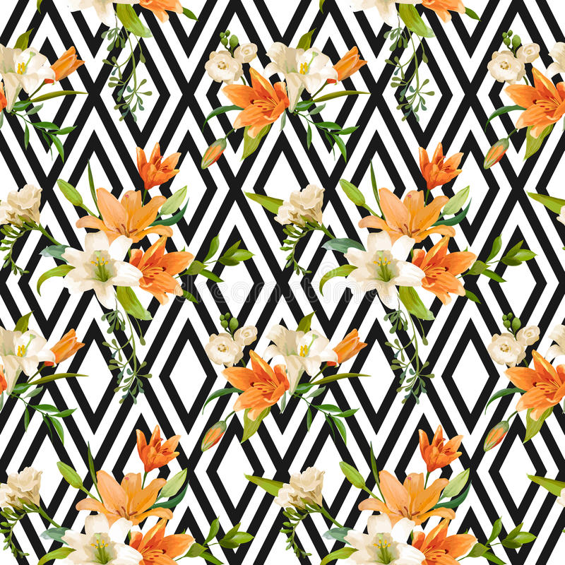 Frühling Lily Flowers Background - nahtloses Blumenmuster vektor abbildung