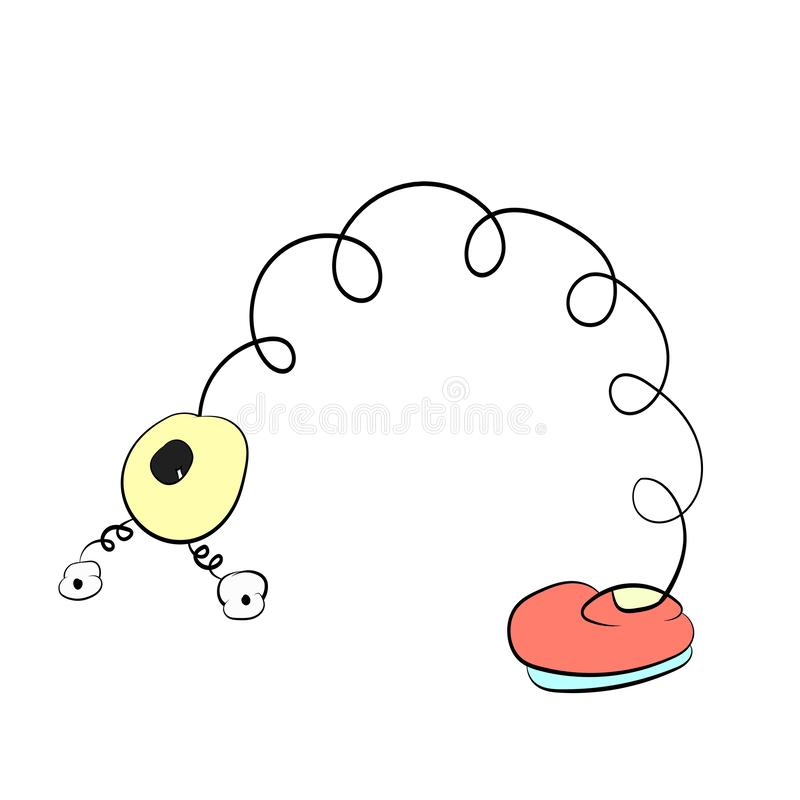 Frühling mit Augen Biegungen eines in den roten Stiefels, Karikaturzeichnung lizenzfreie abbildung