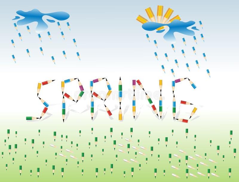 Frühling. Saisonhintergrund mit farbigen Bleistiften stockbilder