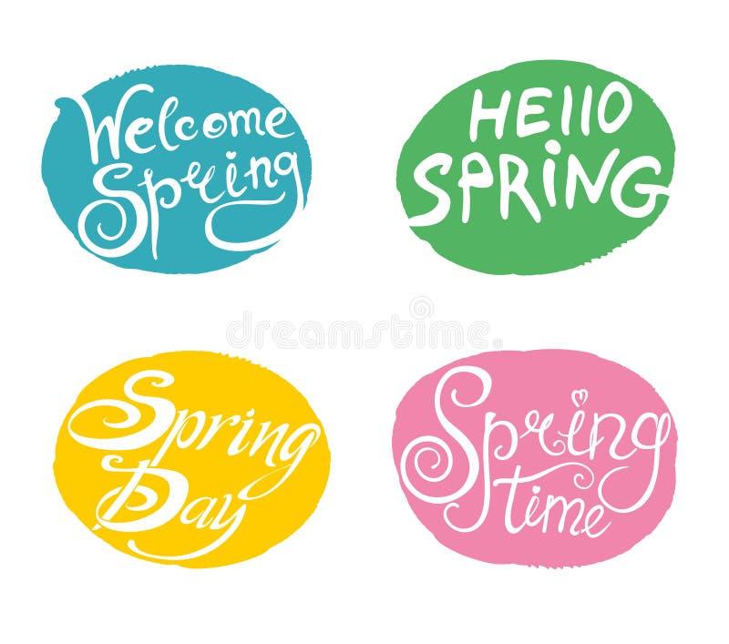 Frühling Vier willkommene Schablonen der hellen mehrfarbigen Schablonen stock abbildung