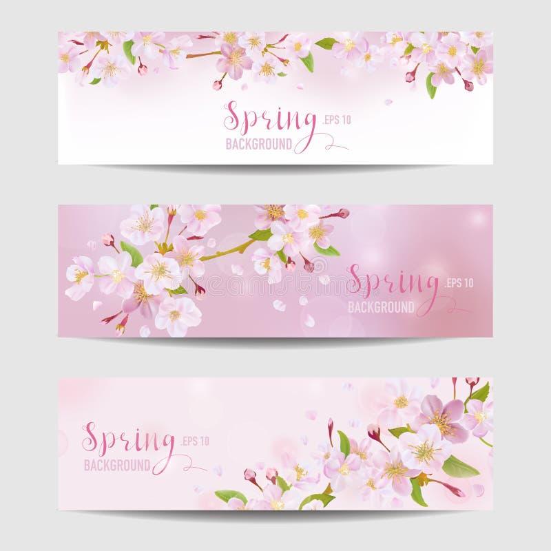 Frühlings-Blumen-Fahnen-Satz lizenzfreie abbildung
