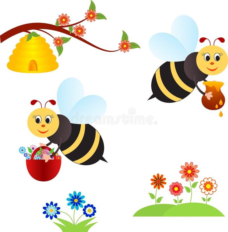 Frühlings-Blumen und Bienen-Illustrationen stock abbildung