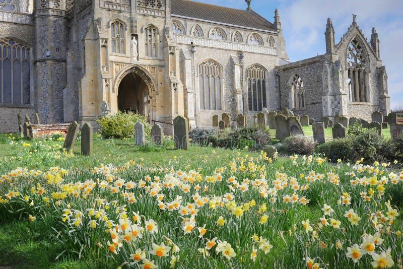 Frühlings-Blumen und eine Norfolk-Kirche lizenzfreies stockbild