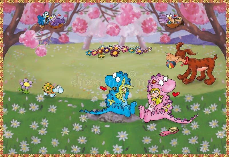 Frühlings-Drachen stock abbildung. Illustration von küche - 42344137