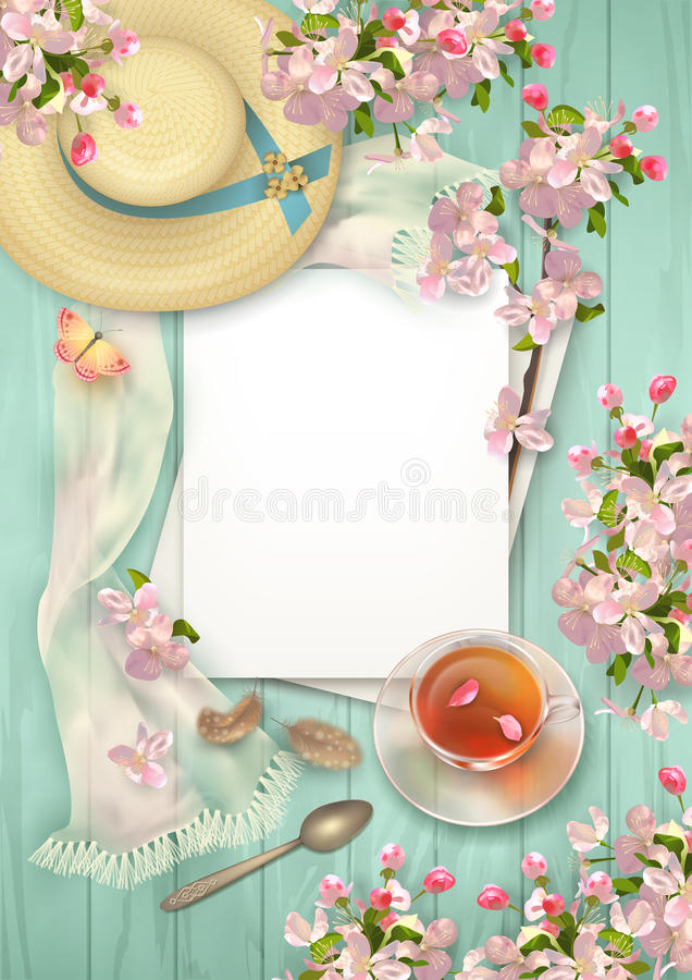 Frühlings-Draufsicht-Hintergrund lizenzfreie abbildung
