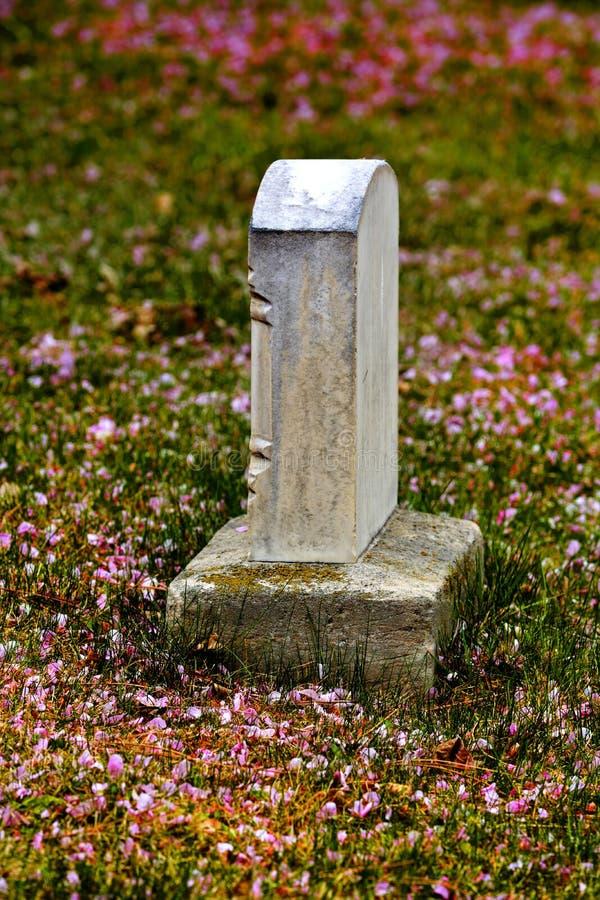 Frühlings-Grabstein mit Blüten stockbild