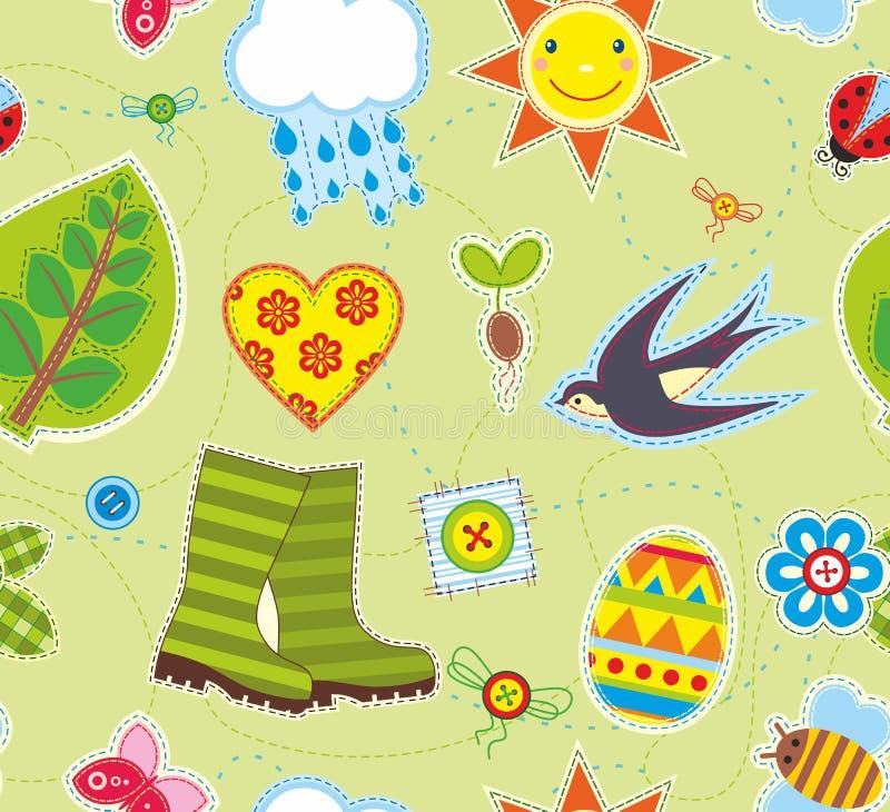 Frühlings-nahtloses Hintergrund-Textilelement vektor abbildung