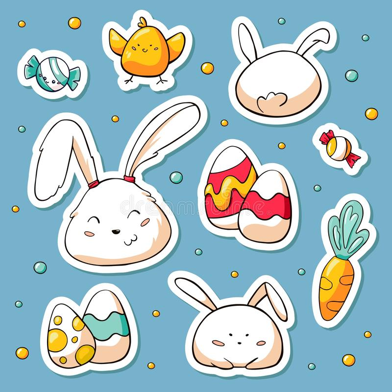 Frühlings-Ostern-Aufkleber eingestellt in Gekritzelart Vektorhandgezogene Illustration mit Zeichentrickfilm-Figuren Sammlung von  vektor abbildung